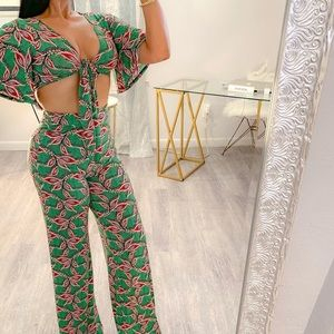 Fun two piece jungle crop top and pant set with